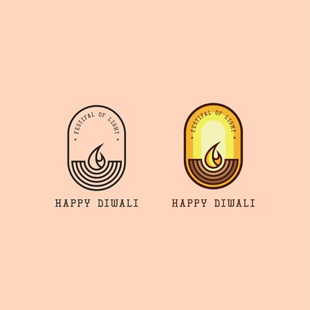 icon logo of diwali with line art