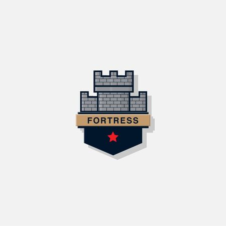 icon logo fortress with a badge