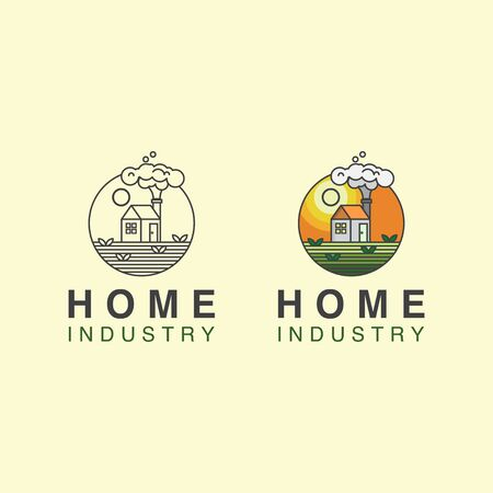 icon logo home industry with house and field concept