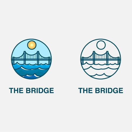 icon logo with bridge and sea concept
