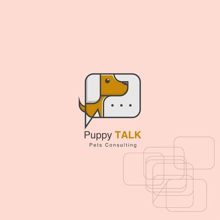 icon logo dog and chat concept