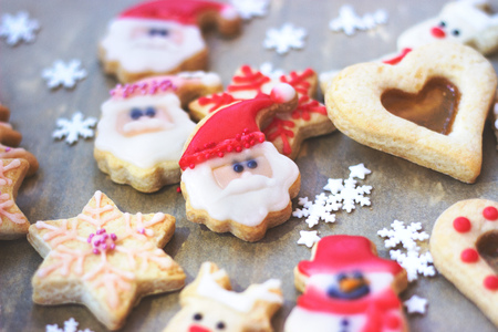 royal icing decorated christmas cookies on wooden background stock photo 93380203
