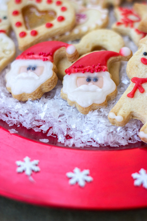 royal icing decorated christmas cookies on red festive plate stock photo picture and royalty free image image 93161910