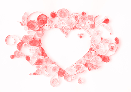 Paper quilling, decorative heart with copy space; valentines background Stock Photo - 111281136