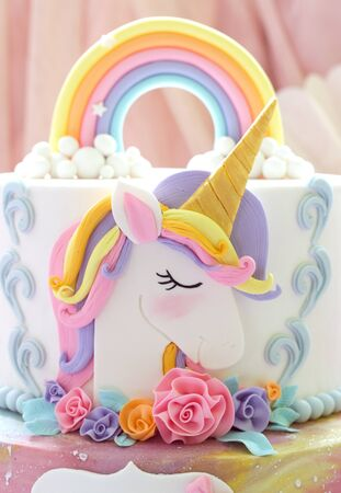 Details  of a unicorn cake  -  Unicorn topper close up Stok Fotoğraf