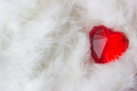 Red heart on white feathers - valentines card Standard-Bild