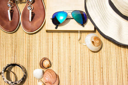 Beach accessories-sun glasses, flip flops, hat, book and sea shell