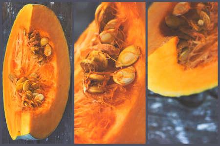 Triptych - raw pumpkin slice on wooden background; kitchen decoration Standard-Bild - 155925521