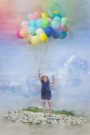 Little girl flies away with balloons; watercolor illustration