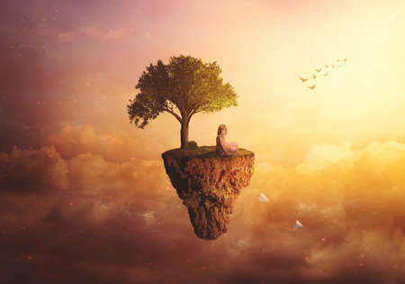 Composite fantasy/surreal background - Little girl sitting on floating island, throwing paper airplanes Standard-Bild - 157264118