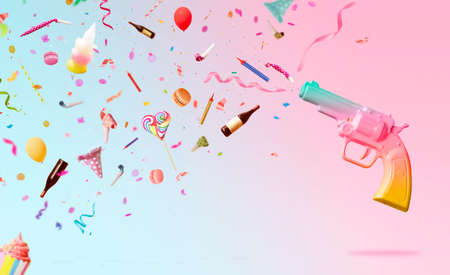 Party background with colorful gun, shooting confetti, streamers, candles and decoration on pink background; Creative party background with copy space