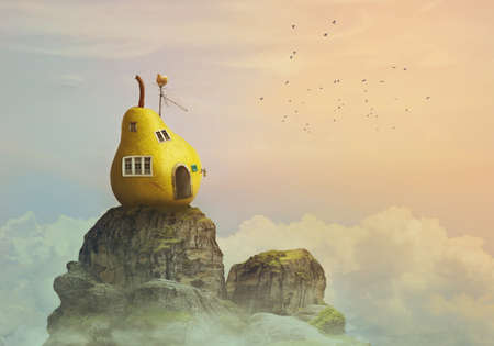 Fantasy world, pear house on the top of the mountain, in clouds; fairy tale/kid's background with copy space
