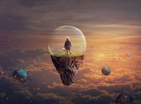 Little girl on a floating island covered with glass bubble; Disease-virus protection concept; Standard-Bild