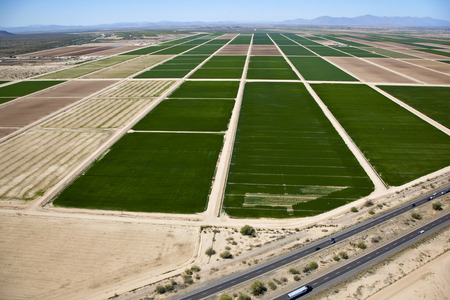 Aerial view of farmland off the Interstate 10 freeway