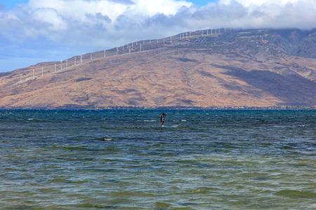 choppy: View from Kihei, Hawaii looking across Maalaea Bay at the West Maui Mountains Stock Photo