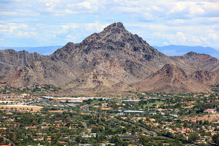 Popular recreation and hiking destination, Piestewa Peak in Phoenix, Arizona as viewed from helicopter