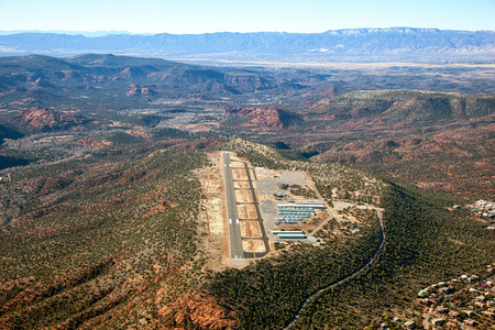 Aerial view of the airport in the red rock beauty of Sedona, Arizona