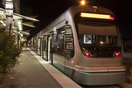Light Rail Train waiting for night riders