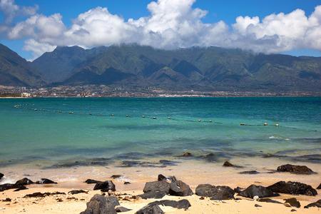 West Maui Mountains and Kahului from Kapana Beach Stock Photo