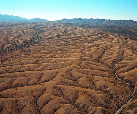 tucson: Aerial view of rugged mountain terrain southeast of Tucson, Arizona