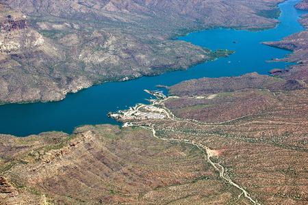 Aerial view of Apache Lake and marina