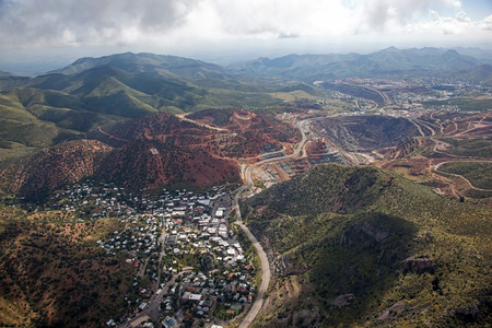 mining town: Mining town of Bisbee in southeast Arizona from above Stock Photo