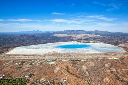 Aerial view of a tailings pond near Green Valley, Arizona