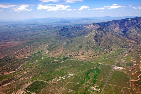 U.S. and Mexico border from high above near Sierra Vista, Arizona