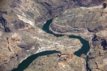 mesa: Water leading to Canyon Lake just below Horse Mesa Dam in Arizona