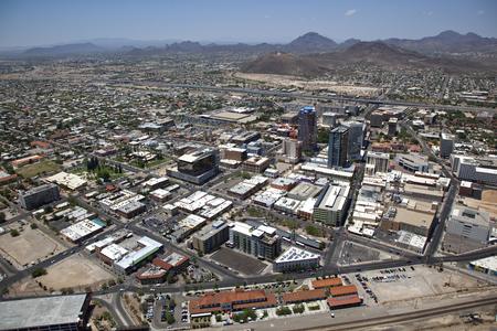 tucson: Low Level Aerial view of Downtown Tucson, Arizona