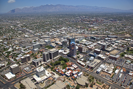 Low Level Aerial view of Downtown Tucson, Arizona