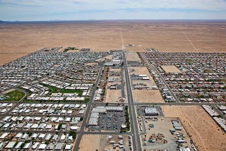 Edge of the Sonoran Desert in Yuma, Arizona Stock Photo
