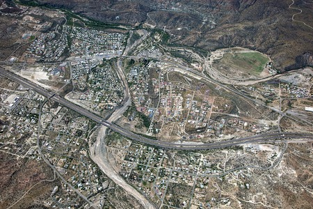 Aerial view of Black Canyon City, Arizona with Interstate 17 running through the middle