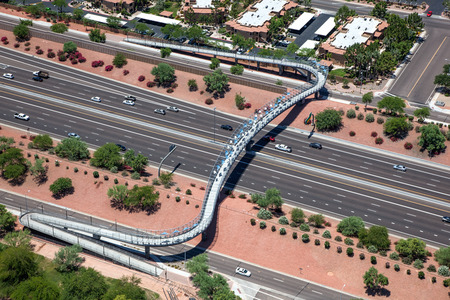 chandler: A pedestrian, cyclist bridge spanning the Loop 101 freeway in Chandler, Arizona
