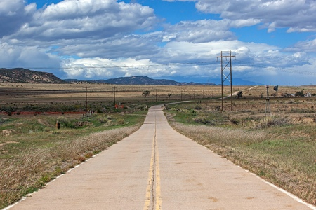cattle wire: U.S. Highway 87 once the main highway back in the 1930s before Interstate 25 was built near Ludlow, Colorado