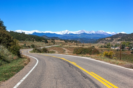 Highway of Legends winding through southwest Colorado Stock Photo