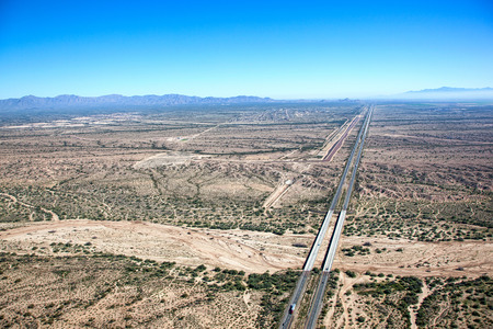 Interstate 10 looking eastbound from the Hassayampa river bed near Buckeye, Arizona