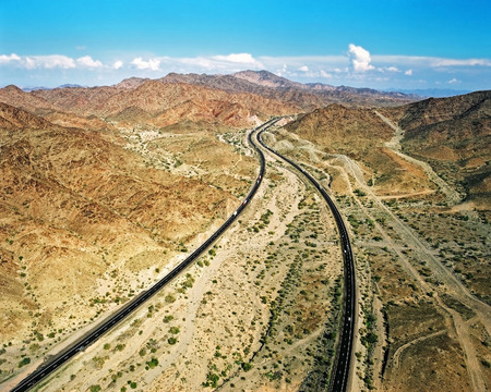 Welcome to Arizona, aerial view just east of the CaliforniaArizona state line Stock Photo