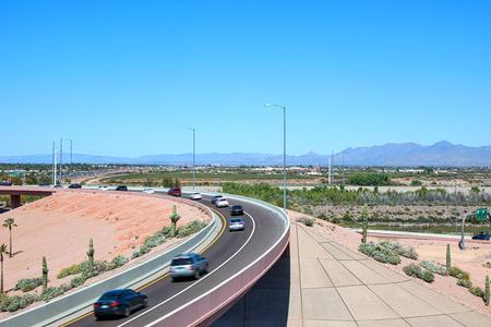 Traffic on a the 101  202 interchange over the Salt River near Phoenix, Arizona Stock Photo