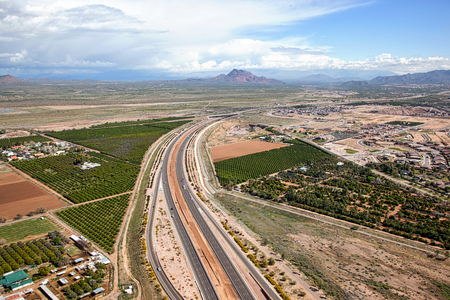 off ramp: Widening of the Red Mountain freeway viewed from above in Mesa, Arizona