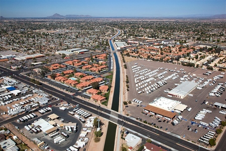 Aerial view of Irrigation Canal at Main and Gilbert Rd. in Mesa, AZ