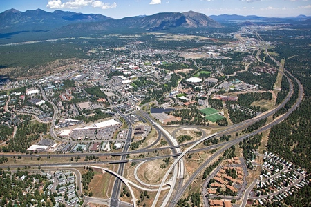 Aerial view from the I-17 and I-40 interchange above Flagstaff, Arizona