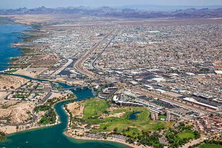 Lake Havasu, Arizona with an aerial view of the city center and the London Bridge Stock Photo