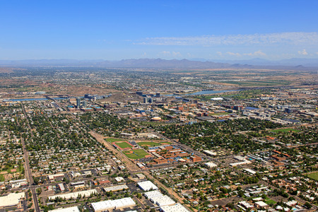 Aerial view of Tempe, Arizona looking to the Northeast with the McDowell Mountains in the distance Stock Photo