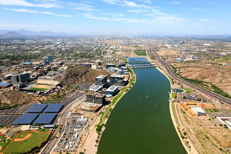 phoenix arizona: Aerial view of the Tempe Town Lake looking to the West with Phoenix, Arizona in the distance