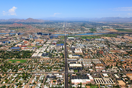 Aerial view of the Tempe, Arizona skyline looking north up Rural and Scottsdale Roads Stock Photo