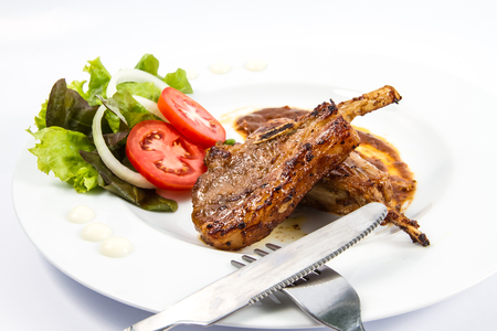 rack of lamb: grilled lamb chops  with Vegetables