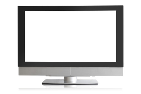 tv monitor: Frontal view of widescreen led or lcd internet tv monitor isolated on white
