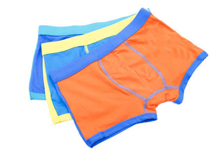 holidaying: Childrens swimming shorts isolated on white background with clipping path.