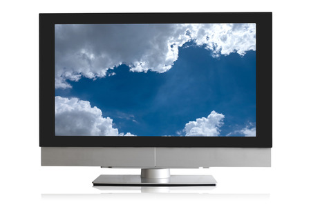 lcd screen: TV, modern lcd, led, isolated with clouds on screen.